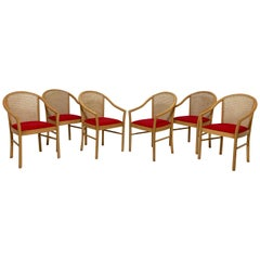 Set of Six Italian Cane Back Birch Dining Chairs, circa 1980s