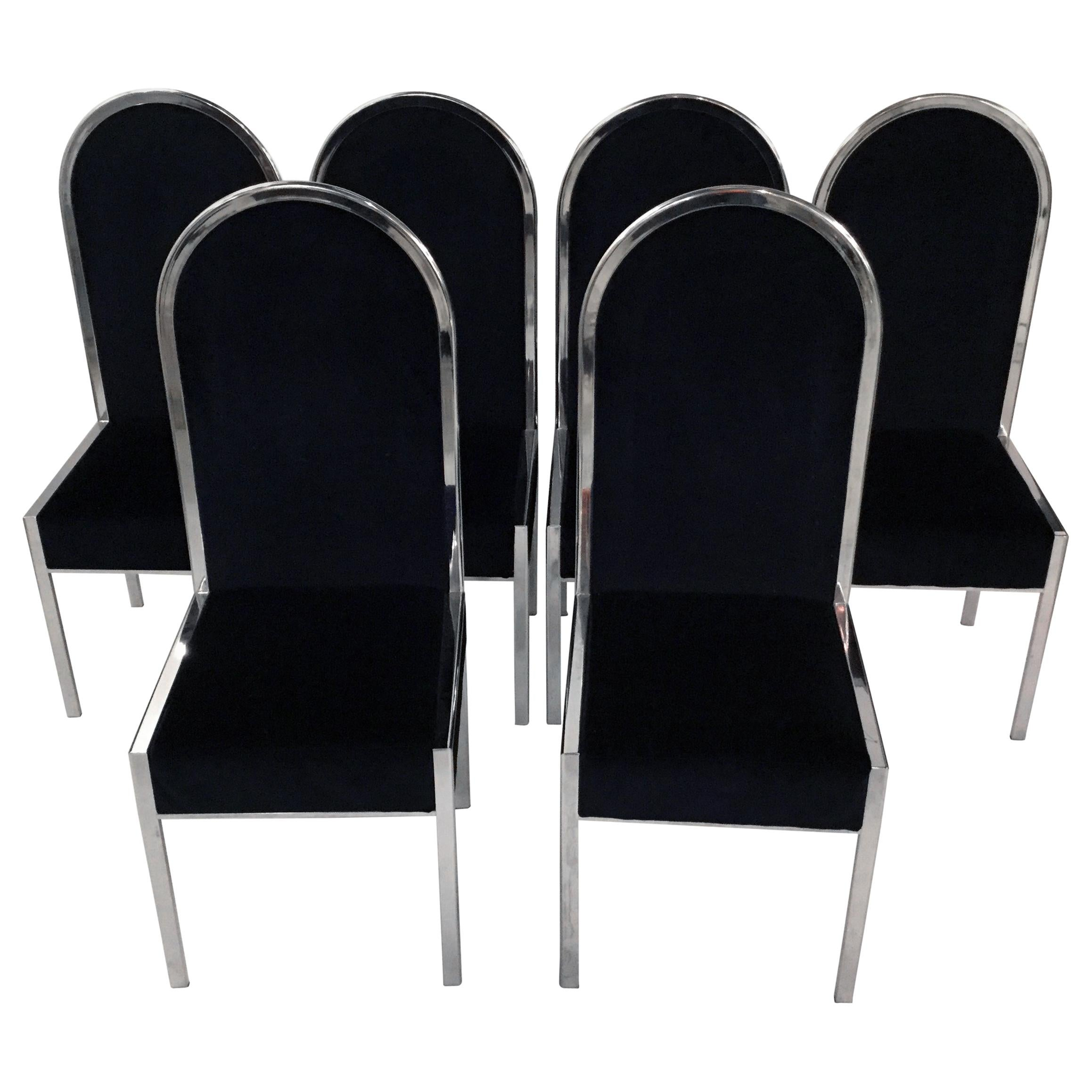 Set of Six Italian Design Dining Chairs by Willy Rizzo