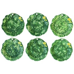 Set of Six Italian Designer Green Matte Pottery Plates with Lotus Design