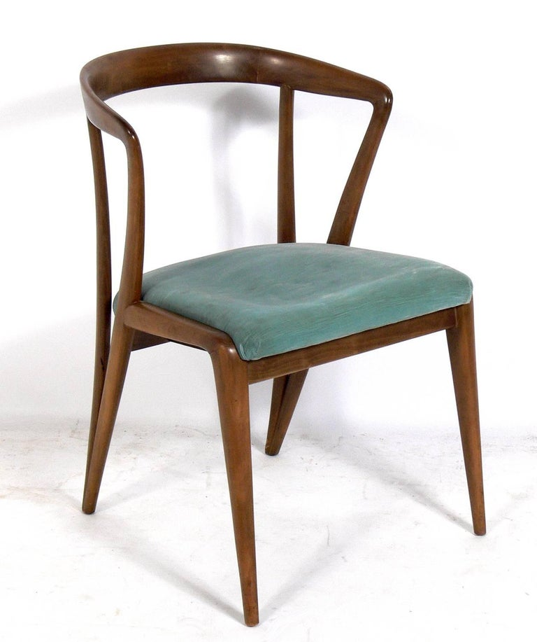 Set of six Italian midcentury dining chairs, designed by Bertha Schaefer for Singer and Sons, Italy, circa 1950s. These chairs retain their wonderful original patina. They are currently being reupholstered and can be finished in your fabric. The