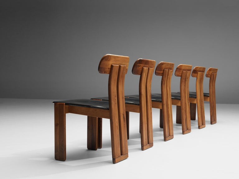 Leather Set of Six Italian Dining Chairs by Sapporo
