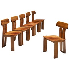 Set of Six Italian Dining Chairs by Sapporo in Cognac Leather