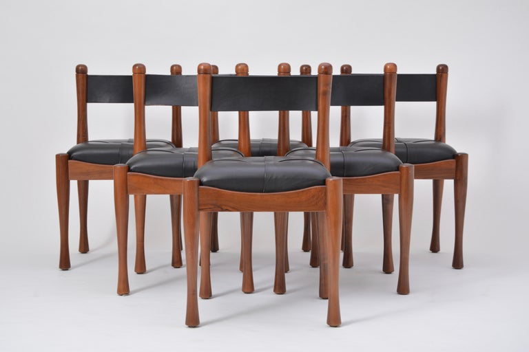Set of six Italian Mid-Century Modern dining chairs by Silvio Coppola for Bernini  This set of six chairs was designed by Silvio Coppola for Bernini, and produced in the 1970s in Italy. The chairs frame are made of beech wood with foam padding and