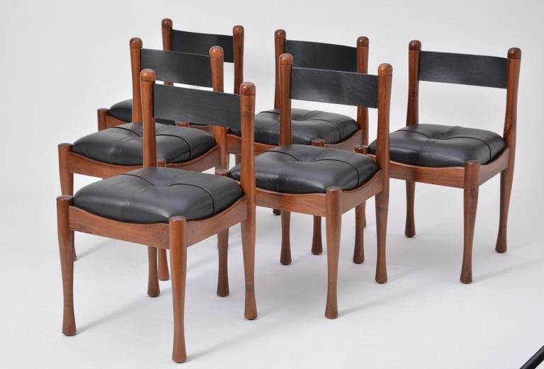 Mid-Century Modern Set of six Italian Mid-Century dining chairs by Silvio Coppola for Bernini For Sale
