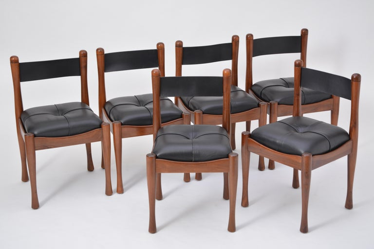 20th Century Set of six Italian Mid-Century dining chairs by Silvio Coppola for Bernini For Sale