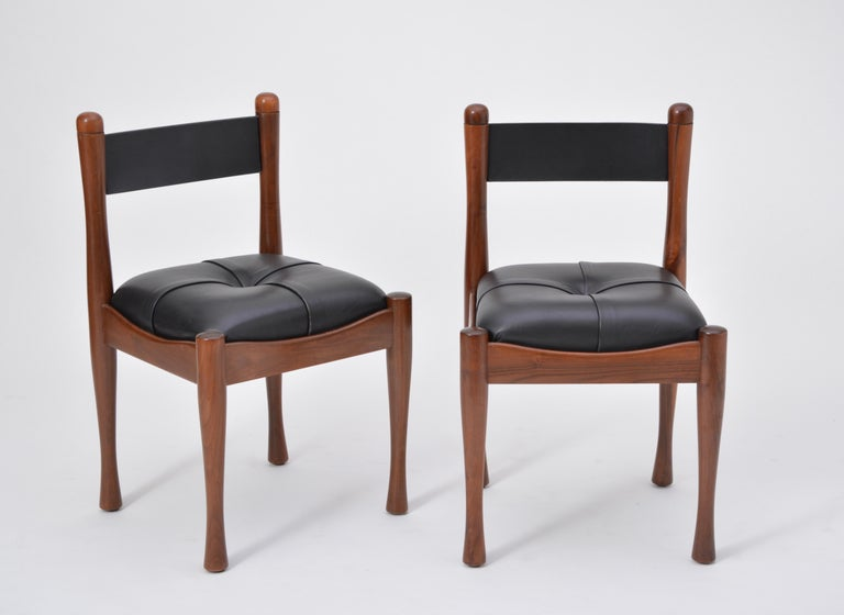 Leather Set of six Italian Mid-Century dining chairs by Silvio Coppola for Bernini For Sale