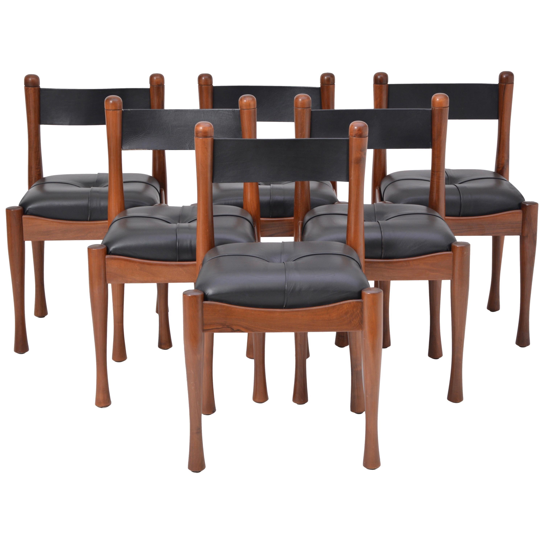 Set of six Italian Mid-Century dining chairs by Silvio Coppola for Bernini