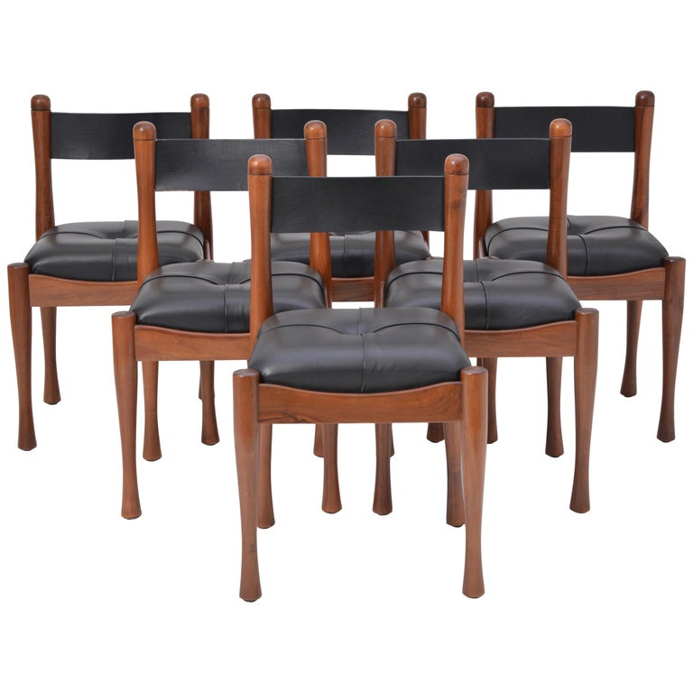 Set of six Italian Mid-Century dining chairs by Silvio Coppola for Bernini For Sale