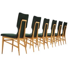Set of Six Italian Dining Chairs in Beech and Green Leatherette