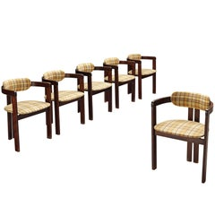 Set of Six Italian Dining Chairs in Checked Fabric Upholstery