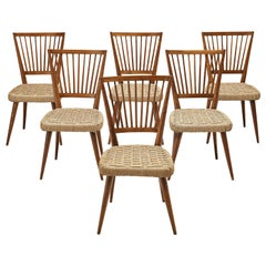 Set of Six Italian Dining Chairs in Oak and Cord Webbing