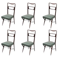 Set of Six Italian Dining Chairs in the Style of Ico Parisi