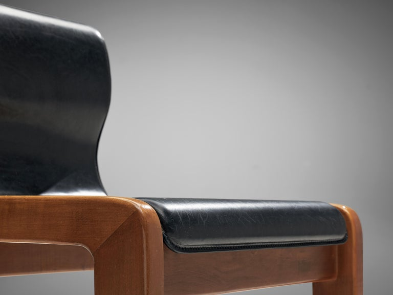 Late 20th Century Set of Six Italian Dining Chairs in Walnut and Black Leather Seats