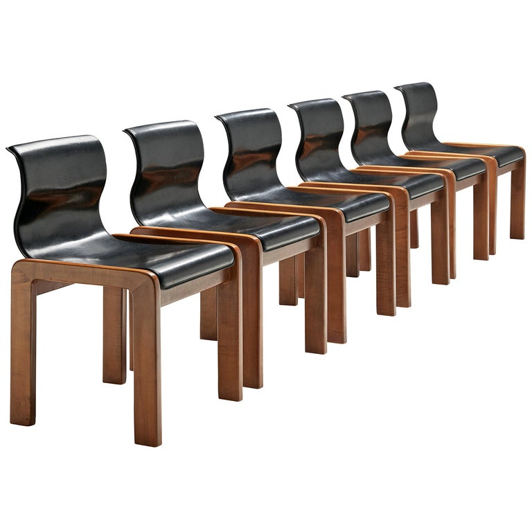 Set of Six Italian Dining Chairs in Walnut and Black Leather Seats