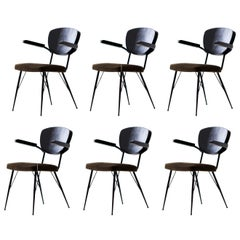 Set of Six Italian Dining Chairs with Natural Suede Leather Seat