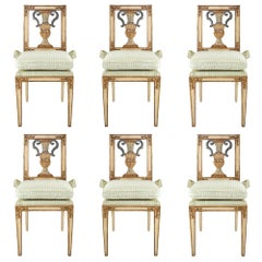 Set of Six Italian Early 19th Century Louis XVI St. Dining Chairs