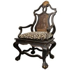 Set of Six Italian Ebonized Chairs with Gilt Decoration