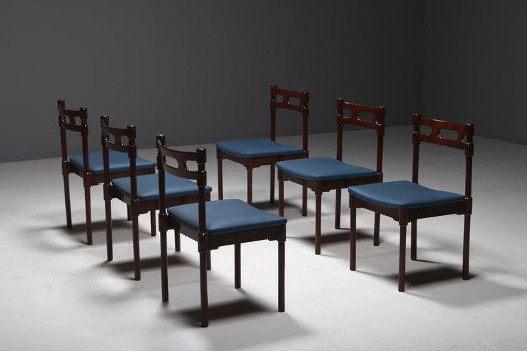 Set of Six Italian Gianfranco Frattini Style Walnut Dining Chairs, 1960s For Sale 6