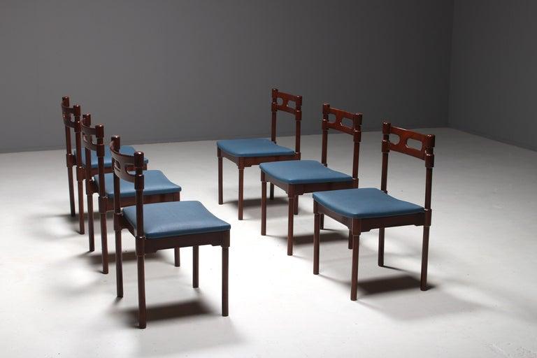 Mid-Century Modern Set of Six Italian Gianfranco Frattini Style Walnut Dining Chairs, 1960s For Sale