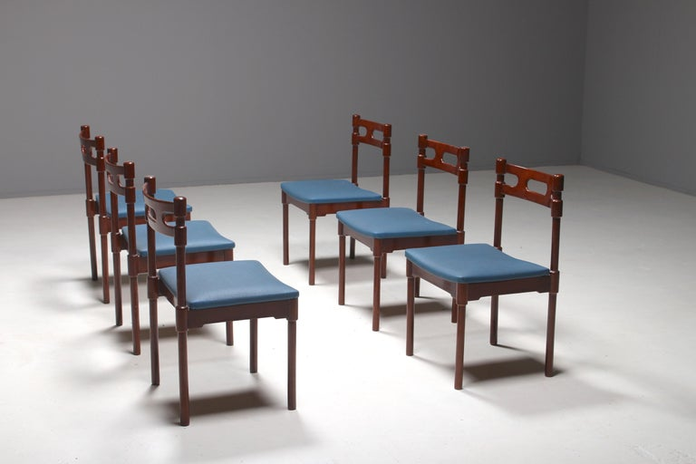Mid-Century Modern Set of Six Italian Gianfranco Frattini Style Walnut Dining Chairs, 1960s For Sale