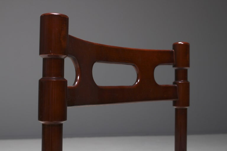 Set of Six Italian Gianfranco Frattini Style Walnut Dining Chairs, 1960s For Sale 3
