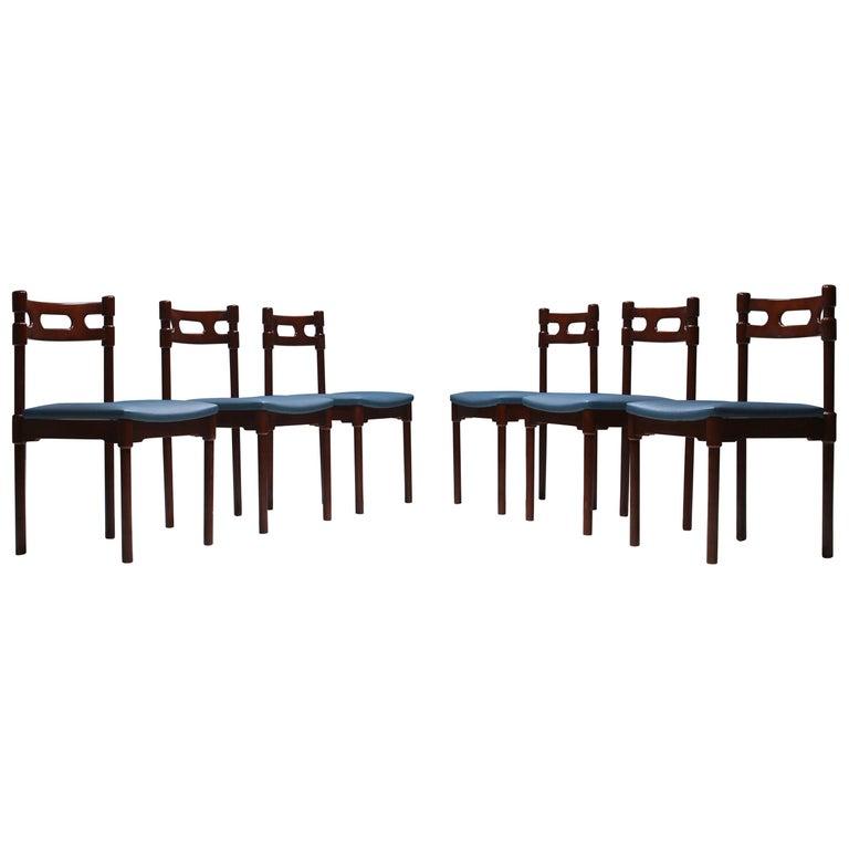 Set of Six Italian Gianfranco Frattini Style Walnut Dining Chairs, 1960s For Sale