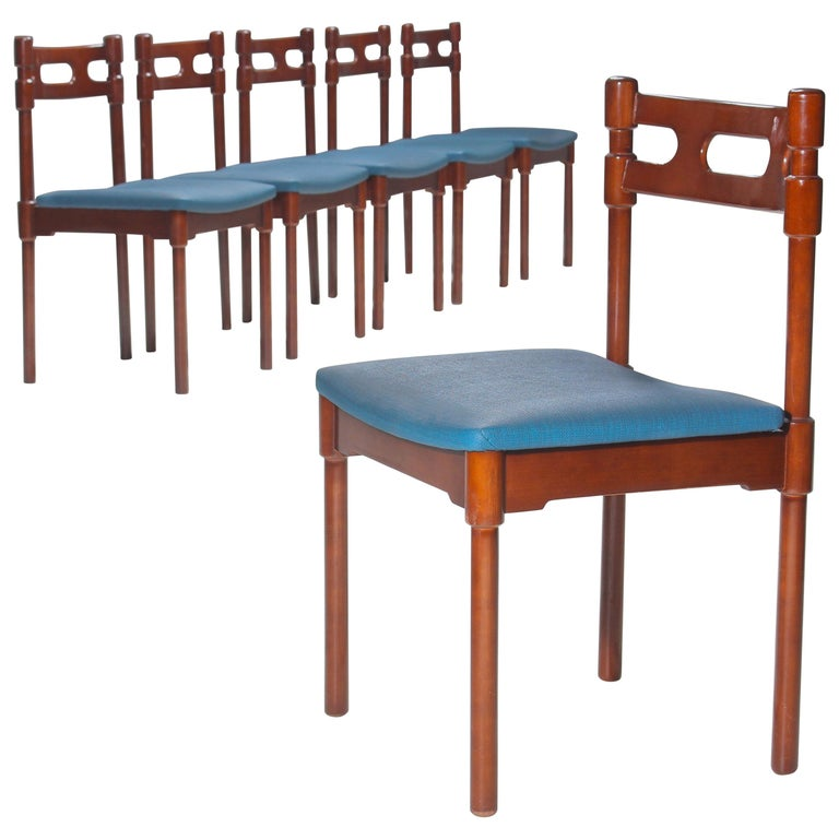 Set of Six Italian Gianfranco Frattini Style Walnut Dining Chairs, 1960s For Sale