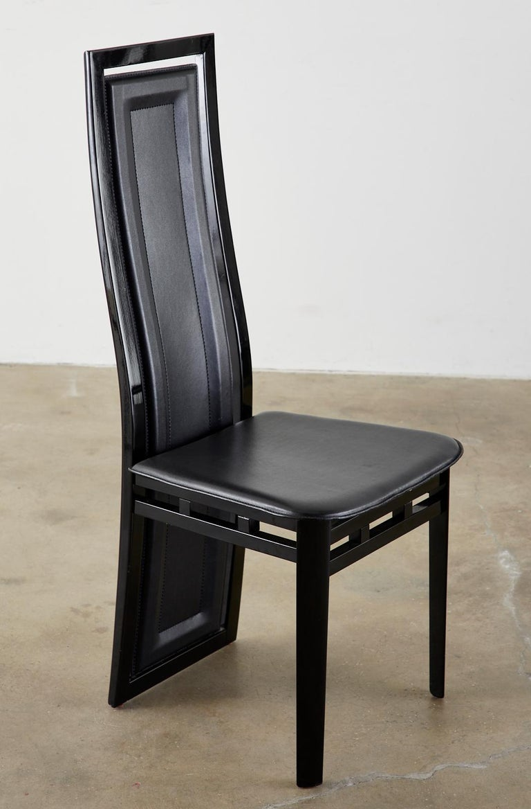 Set of Six Italian Lacquered Wood and Leather Modern Dining Chairs For Sale 7
