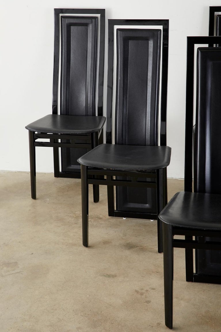 Hand-Crafted Set of Six Italian Lacquered Wood and Leather Modern Dining Chairs For Sale