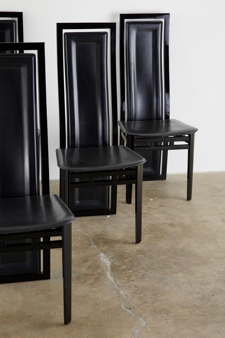 Set of Six Italian Lacquered Wood and Leather Modern Dining Chairs In Good Condition For Sale In Oakland, CA