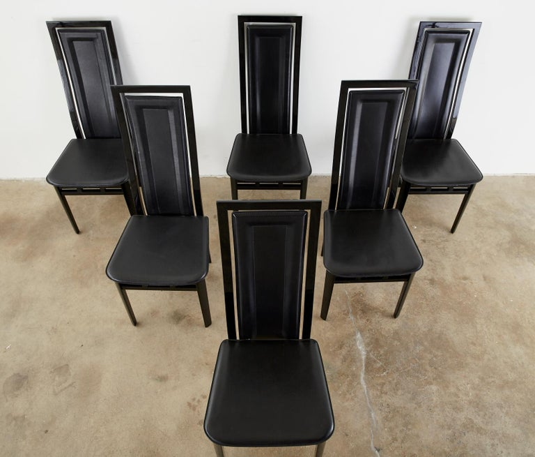 20th Century Set of Six Italian Lacquered Wood and Leather Modern Dining Chairs For Sale
