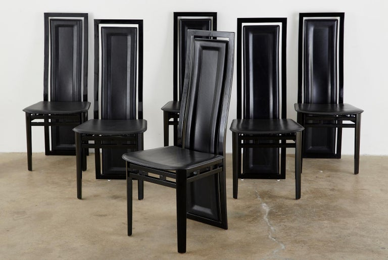 Set of Six Italian Lacquered Wood and Leather Modern Dining Chairs For Sale 1