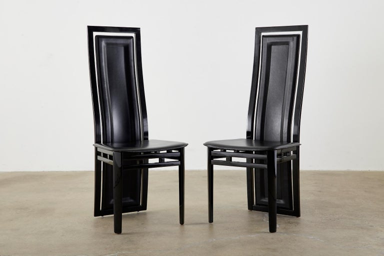 Set of Six Italian Lacquered Wood and Leather Modern Dining Chairs For Sale 3