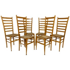 Set of Six Italian Ladder Back Dining Chairs after Gio Ponti