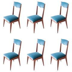 Set of Six Italian Light Blue Velvet and Mahogany Dining Chairs, 1950s
