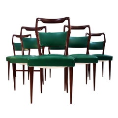 Set of Six Italian Mahogany Dining Chairs by Vittorio Dassi, 1950s
