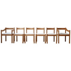 Set of Six Italian Midcentury Dining Chairs by Vico Magisretti