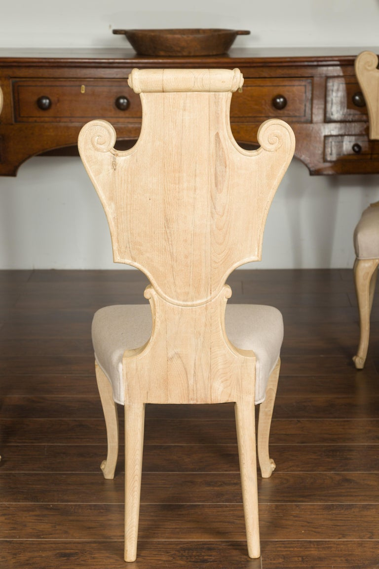 Set of Six Italian Midcentury Bleached Walnut Dining Room Chairs with Scrolls For Sale 5