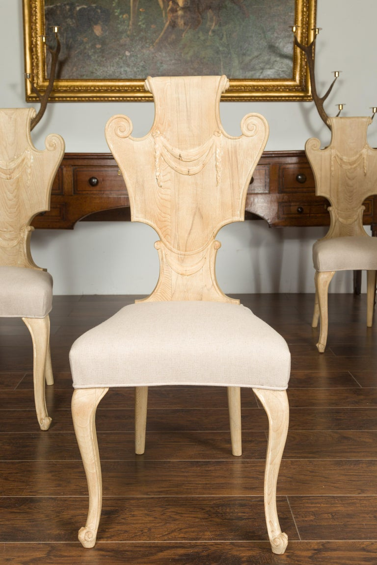 Upholstery Set of Six Italian Midcentury Bleached Walnut Dining Room Chairs with Scrolls For Sale