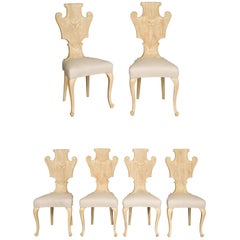 Set of Six Italian Midcentury Bleached Walnut Dining Room Chairs with Scrolls