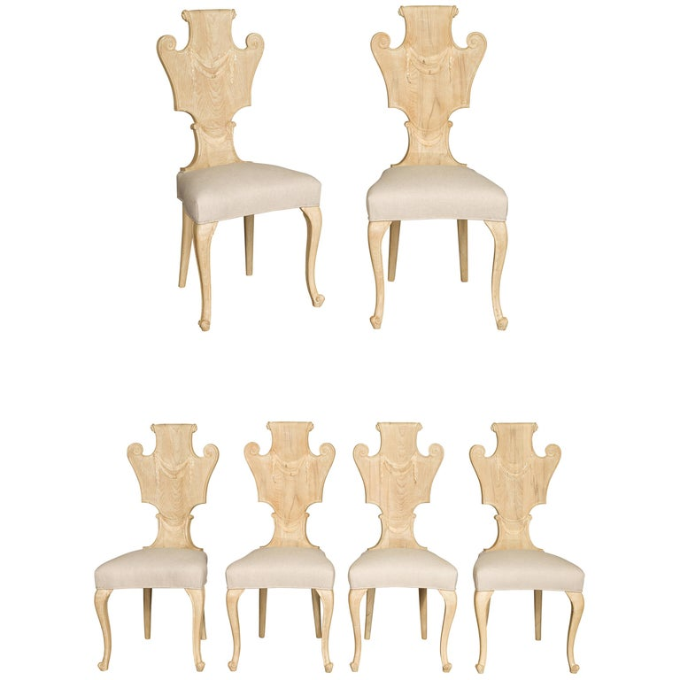 Set of Six Italian Midcentury Bleached Walnut Dining Room Chairs with Scrolls For Sale