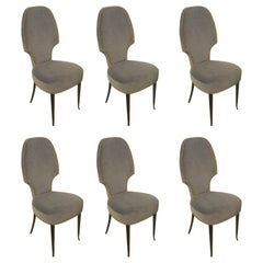 Set of Six Italian Midcentury Sculptural Dining Room Chairs