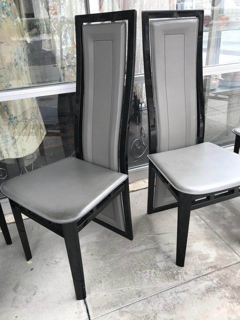 Set Of Six Italian Modern Black Lacquer And Grey Leather