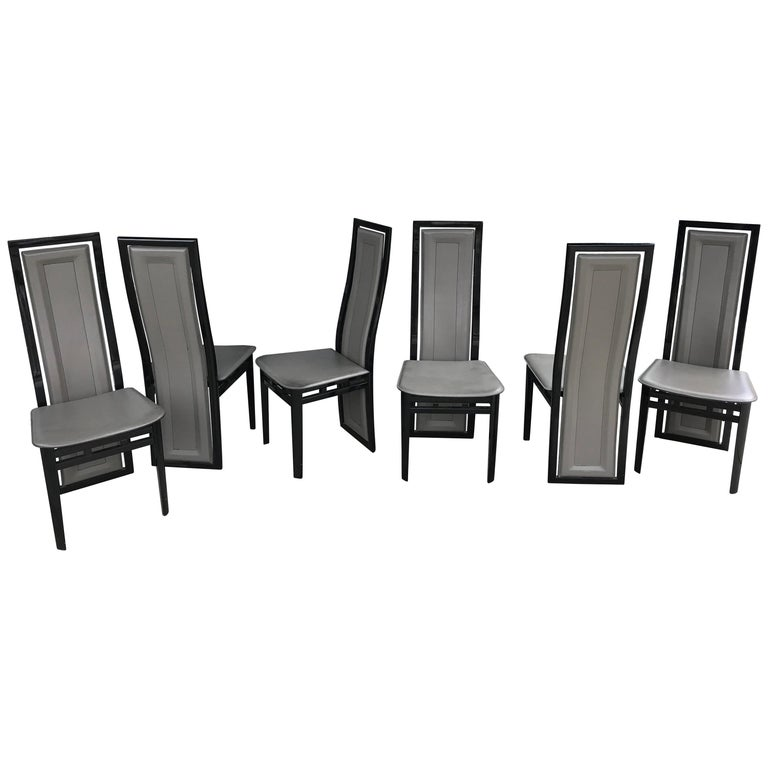 Black Lacquer Dining Room Chairs: Set Of Six Italian Modern Black Lacquer And Grey Leather