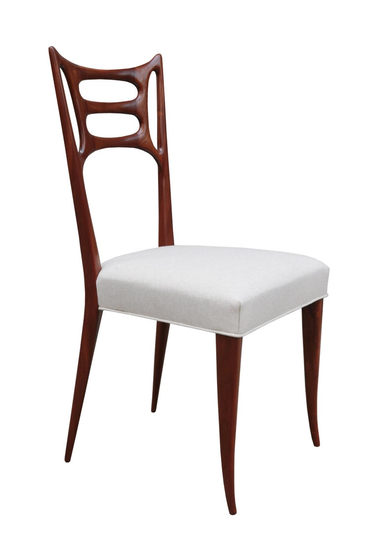 Mid-Century Modern Set of Six Italian Modernist Dining Chairs For Sale