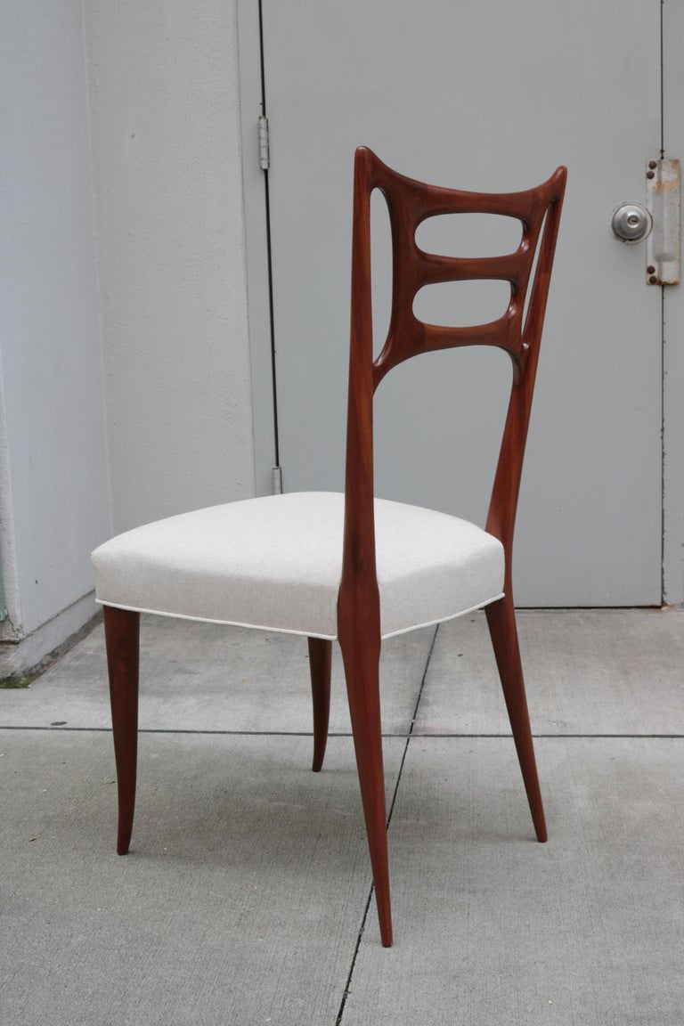 Mid-20th Century Set of Six Italian Modernist Dining Chairs For Sale