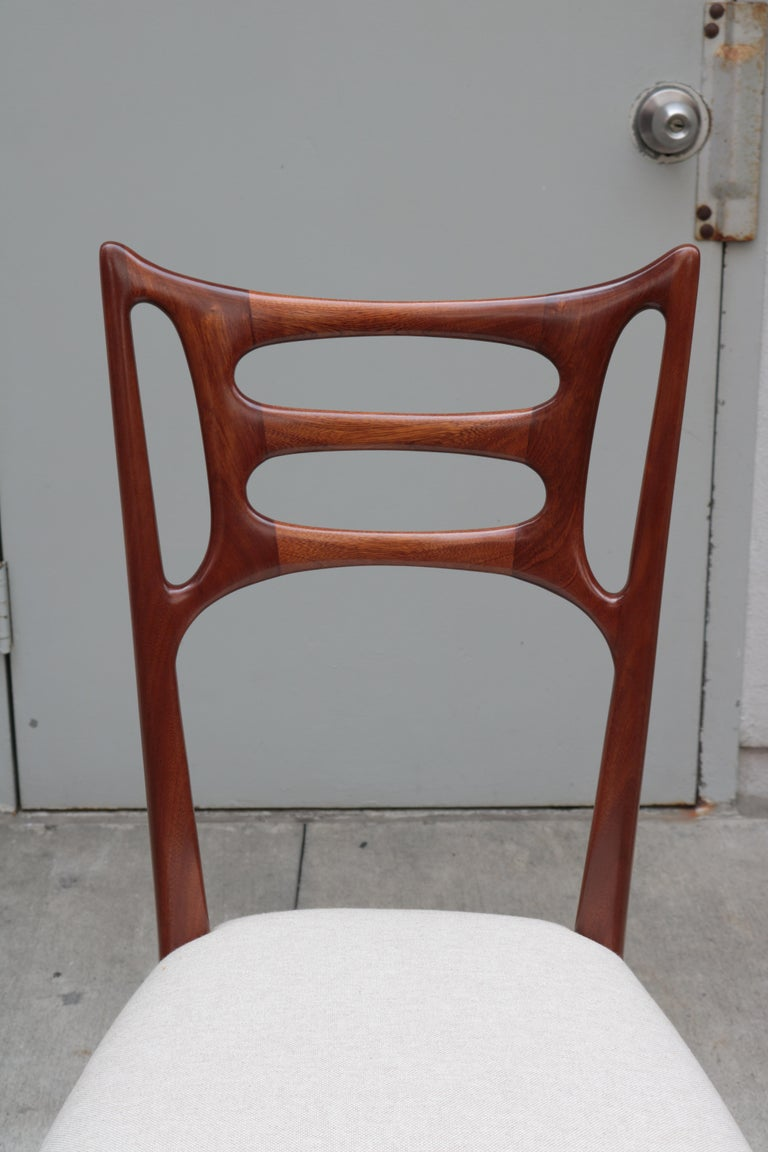 Walnut Set of Six Italian Modernist Dining Chairs For Sale