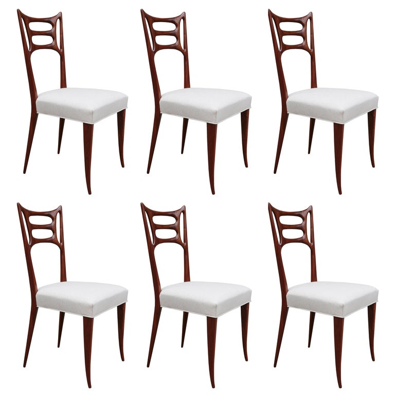 Set of Six Italian Modernist Dining Chairs For Sale