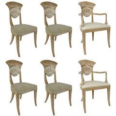 Set of Six Italian NeoClassical Fan Back Side Chairs