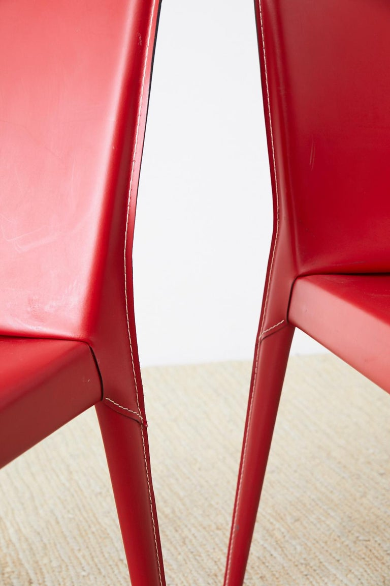 Set of Six Italian Red Leather Wrapped Dining Chairs 3